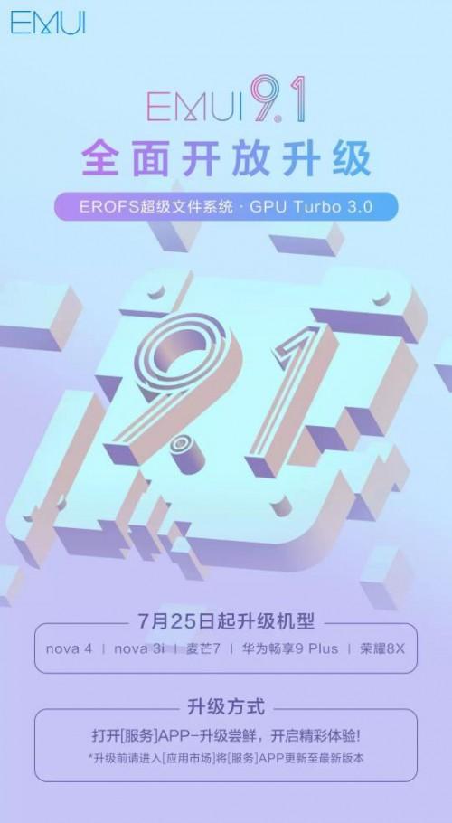 这次轮到你升级!华为再添nova 4等5款机型加入EMUI9.1阵营